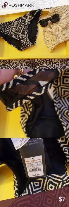 Mossimo bikini bottoms new with tags and lining. Black and creme bikini bottoms, with stylish black sheer sides. New with tags and lining. Would be perfect with black bikini top. Mossimo Supply Co Swim Bikinis