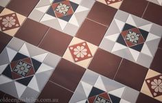 Olde English Tiles' gorgeous tessellated tiled floors can revitalise and transform a tired verandah into a spectacular, welcoming entrance to your home. Terrace House Exterior, Victorian Terrace House, House Exteriors, Black Subway Tiles, Charcoal Walls, Garden Floor, Feature Tiles, Melbourne House, Checkerboard Pattern