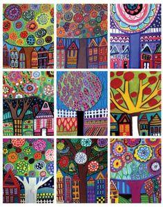 ACEO PRINT SET Landscapes Trees Folk Art by HeatherGallerArt, $18.00