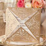 Faire part de mariage de dentelle avec coupe triangle JM643 à partir de 1.56€