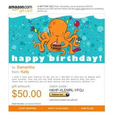 Best Amazon Gifts Happy Birthday Card Ecards Instant Video Gift Certificates Price Octopus Cards
