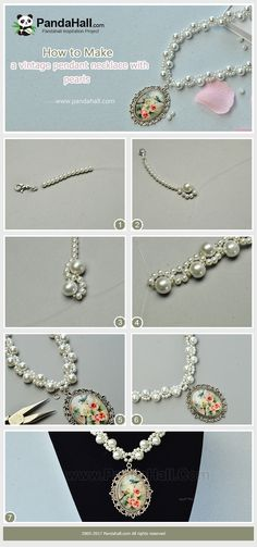 #PandaHall #JewelryMaking #Tutorial on making a #Vintage #FlowerPendant #Necklace with #Pearls