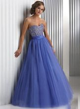 New Arrival Sweetheart Sleeveless Crystal Beaded Fashion Blue Ball Gowns Formal Prom dresses 2015 vestidos de fiestas(China (Mainland))