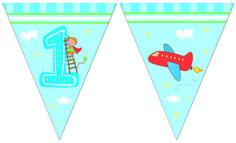 1-vuotisjuhlat poika; lippubanderolli