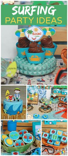 Here's a fun summer party with a surfing beach theme! See more party planning ideas at CatchMyParty.com!