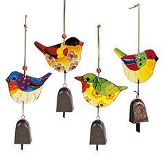 Grasslands Road Glass Bird Bell Chime Assortment, 4-Inch, Set of 8