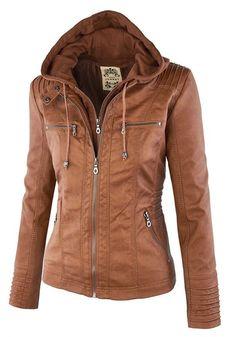 Camel Plain Double Zipper Hooded Jacket
