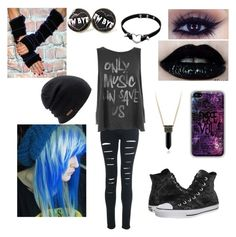 """Pierce The Veil"" by danandphil5sos ❤ liked on Polyvore featuring Junk Food Clothing, Converse, Coal, women's clothing, women, female, woman, misses and juniors"