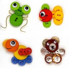 button BUGS, FISH, TURTLE, BEAR..... Crafts with buttons for kids
