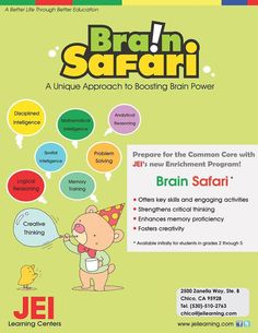 Brain Safari is an enrichment program that strengthens logical and analytical skills, as well as enhances creativity and memory proficiency. These unique, fun, and engaging activities will help build critical thinking skills and creative talents to help students excel in all subjects. For more information or to book an appointment contact us at (647) 693-9335 or visit our website at www.jeiyork.ca #school #jei #Tutoring #learning #Toronto #education #children #fun Enrichment Programs, Learning Methods, Critical Thinking Skills, How To Gain Confidence, Learning Centers, Better Life, Programming, Memories, Activities