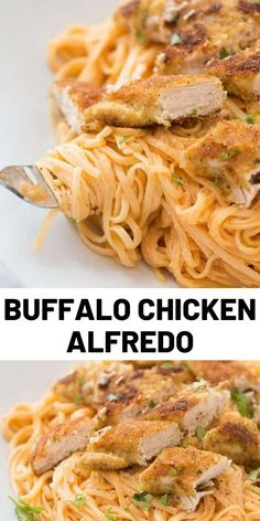 Buffalo Fettuccine Chicken Alfredo is made with chicken tenders that are lightly pan-fried and then served with fettuccine in a light alfredo sauce that has been infused with buffalo sauce! Food Recipes For Dinner, Food Recipes Keto Yummy Chicken Recipes, Easy Pasta Recipes, Easy Meals, Cooking Recipes, Healthy Recipes, Cooking Food, Healthy Food, Sauce Alfredo, Chicken Alfredo