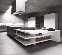 cocinas integrales diseo minimalista chimeneas edificios elementos piedra espacio interiores cocinas modernas