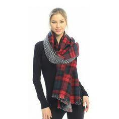 """Houndstooth plaid reversable blanket scarves shawl Thick and Warm Plaid Reversible Fringe Scarf Blanket Wrap Shawl oversized  long thick shawl celibrity  runway model styleOne size of the wrap is either red or huntergreen while the reversible is a black and white plaid design. Wrap this shawl around for any occasion for extra warmth. These are perfect for the fall and winter seasons. Product Dimensions (IN): Length- 74"""" x Width- 34"""" Accessories Scarves & Wraps"""