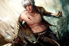 I love this stylization of Fenris, but I gotta ask why didn't they include his lyrium tattoos? Dragon Age 2 ~Artist unknown