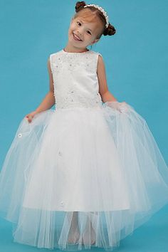 Elegant White Tulle Flower Girl Dress - Order Link: http://www.theweddingdresses.com/elegant-white-tulle-flower-girl-dress-twdn1098.html - Embellishments: Sash , Ruched; Length: Floor Length; Fabric: Tulle; Waist: Natural - Price: 73.67USD