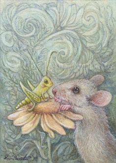 """Art by Lynn Bonnette: """"Hello Mr. Grass Hopper"""""""