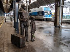 Thoughtul monument to Nicholas Winton located at the platform 1 of Prague main railway station. 669 Jewish children were rescued by trains organized by him in 1939. These trains brought the children to London just before World War II started.