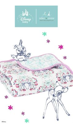 Snuggle up with our Disney Baby Bambi-inspired dream blanket. The cotton muslin is soft against baby's skin and the reversible prints are sweet and stylish.