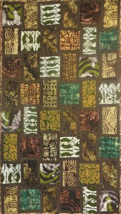 """This quilt features hand printed and hand dyed fair trade batiks made in Ghana and Tanzania exclusively for Kallisti Quilts. Main colours are shades of gold, green and brown on a deep chocolate brown textured background. The quilt pattern is called Blue Moon and was designed by Janine Burke of JB Designs. My retired store sample is being sold with permission. Details of the professional machine quilting in a free motion stipple pattern can be seen in the closeup photo. The quilt measures 36"""" x African Quilts, African Fabric, Quilted Wall Hangings, Hanging Quilts, Blue Cherry, Brown Texture, Shades Of Gold, Stippling, Blue Moon"""