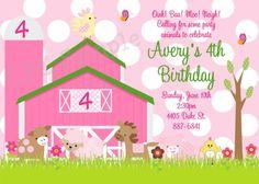 Pink Farm Birthday Invitation Pink Farm by CutiesTieDyeBoutique, $15.00