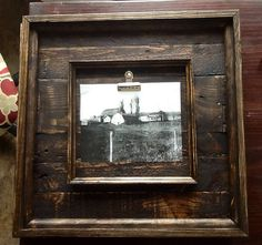 18x18 Rustic Barnwood Picture Frames  - something like this but bigger and with glass instead of clip.