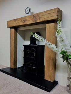 solid rustic oak beam fire surround with 54 mantle - various mantles to choose in Home, Furniture & DIY, Fireplaces & Accessories, Mantelpieces & Surrounds Wood Burner Fireplace, Concrete Fireplace, Fireplace Mantle, Fireplace Surrounds, Fireplace Ideas, Wooden Fireplace Surround, Wood Stove Surround, Oak Mantle, Rustic Mantle