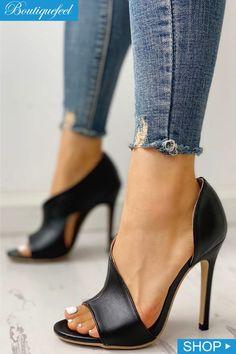 b7417667c PU - Ausschnitt - Peep Toe - Dünne Absatzsandalen PU Cutout Peep Toe Thin Heeled  Sandals PU – Ausschnitt – Peep Toe – Dünne Absatzsandalen
