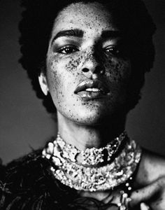 ♀ Woman black and white portrait beautiful face with Freckles The gorgeous Nikia Phoenix.