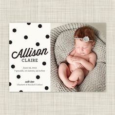 Photo Birth Announcements - Baby Announcement Photo Cards - Chic Spots via Etsy