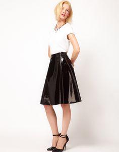 Skater Midi Skirt In High Shine