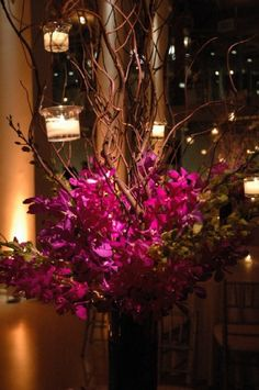 Branch Centerpieces with candles
