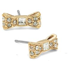 aad91a19a Kate Spade Gold Designer New York Ny Small Bow Clear Crystal Stud Earrings  57% off retail