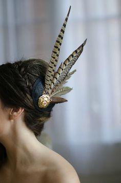 unique feather hairpiece boho chic vintage bride