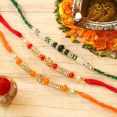 Exclusive Set of 3 Stone & Bead Work Rakhi Rakhi Online Shopping, Buy Rakhi Online, Quilling Rakhi, Send Rakhi To India, Handmade Rakhi Designs, Raksha Bandhan Gifts, Rakhi Making, Frame Gallery, Happy Rakshabandhan