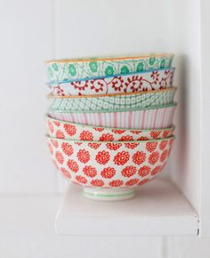 i must have these. Snowflakes and stripes, diamonds and vines fill these porcelain bowls. from Anthropologie. Price: $8.00 per wonder-bowl