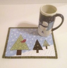 Quilted Christmas and Winter Mug Rug Digital Pattern