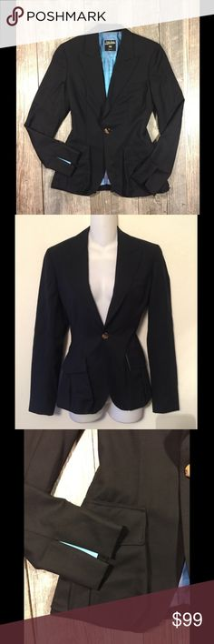 Jean Paul Gaultier Femme black wool blazer Jean Paul Gaultier Femme black wool blazer. 100% virgin wool. Dry clean only. 25 inches long. Pockets in front, button shut. Fully lined in beautiful blue. Tag reads size 4 Jean Paul Gaultier Jackets & Coats Blazers