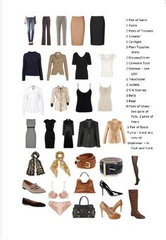Neutral capsule wardrobe.  Still a lot of items, but there are some really good basics in here.