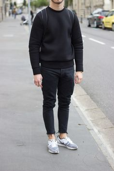 Black Neoprene Sweater on order by Mail  With Unfinished Denim by Lanoir and Nike Flyknit.
