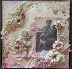 You Are Cherished ~ Sweetly feminine heritage collage page with doilies, beading, dimensional flowers and punched edges.