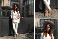 Ohlaleando: mirá lo que se puso Zaira Nara  Zaira Nara eligió un look total white que completó con un sombrero divino y botinetas. ¡Divina!. Foto: Gentileza prensa
