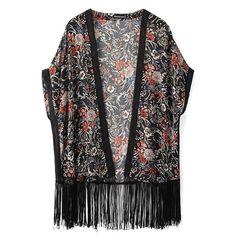 Vintage Floral Print Half Sleeve Tassel Hem Long Kimono featuring polyvore, women's fashion and clothing