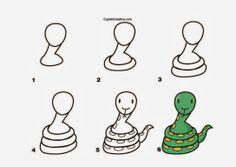 kerajinan anak TK/SD, langkah/cara menggambar ular & mewarnai