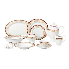 Lorren Home Trend 57 Piece Dinnerware Set-New Bone China Service for 8 People-Mabel (57 Piece Silver Embossed Design), Gold