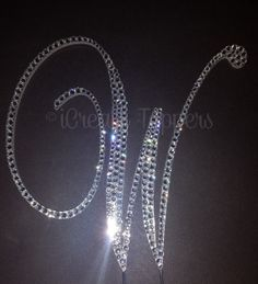 5 Crystal Monogram Cake Topper Brush Metal  Free by iCreateToppers, $85.00
