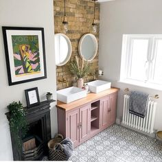 Big question is a double sink the answer to a happy marriage?  . We also see a great solution to keeping your bathroom warm without the towels sucking up all of the heat!  #columnradiators #barhroomradiators