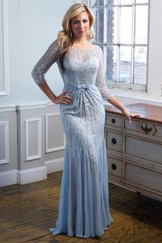 Long beaded dress with high neck and sleeves | - Catherine's of Partick- Catherine's of Partick