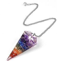 Amazon.com: JK Ink. 7 Chakra Pendulum for Divination Reiki Healing Dowsing Natural Gemstone Crystal Pendulum Hexagon Point Stones Pendant for Dowsing Meditation Wicca Chakra Stones and Healing Stones: Home & Kitchen