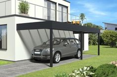 Carport aluminium adosse TALIS 8 x m Plan Carport, Carport Garage, Pergola Carport, Pergola Kits, Metal Barn Homes, Metal Building Homes, Pole Barn Homes, Building A House, Carport Aluminium