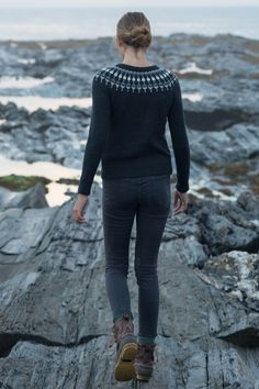 Icelandic jumper in black and greys | Lighthouse pullover pattern in 'swoon: maine' knitting book via quince & co